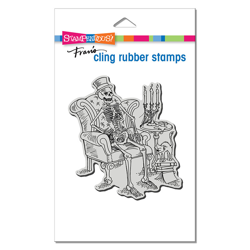 Stampendous Seated Skeleton Rubber Stamp