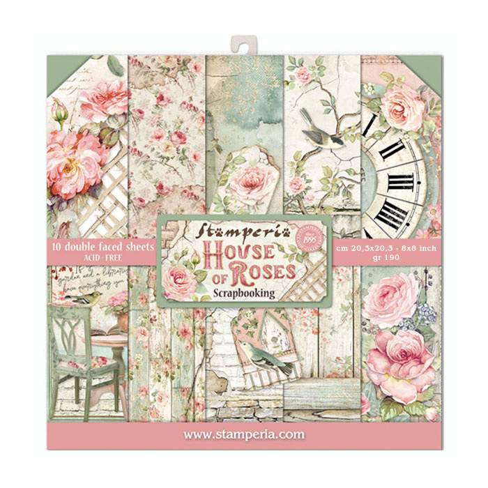stamperia-house-of-roses 8 x 8 Paper Pad