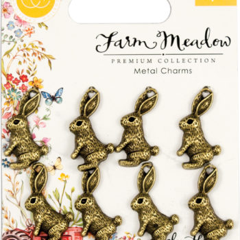 Craft Consortium Farm Meadow Metal Rabbit Charms