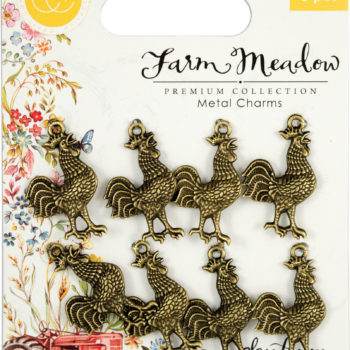 Farm Meadow Metal Rooster Charms