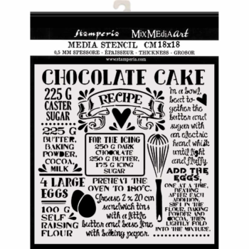stamperia-chocolate-cake thick-stencil-18 x 18 cm